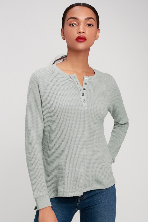 a35034c5337329 Z Supply The Waffle Thermal - Light Blue Thermal Top - Henley Top
