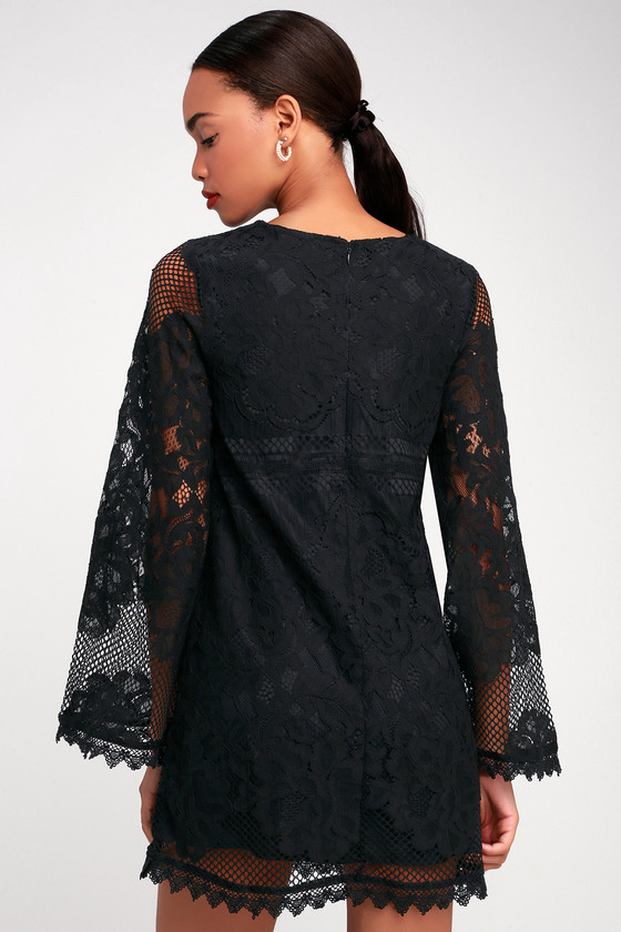 93dc275778e Cute Black Dress - Lace Dress - Bell Sleeve Dress - Shift Dress