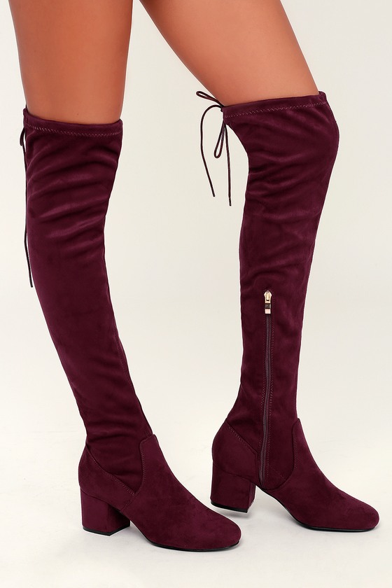 6b7afed5b84e Chic Burgundy Boots - Vegan Suede Boots - Over-the-Knee Boots
