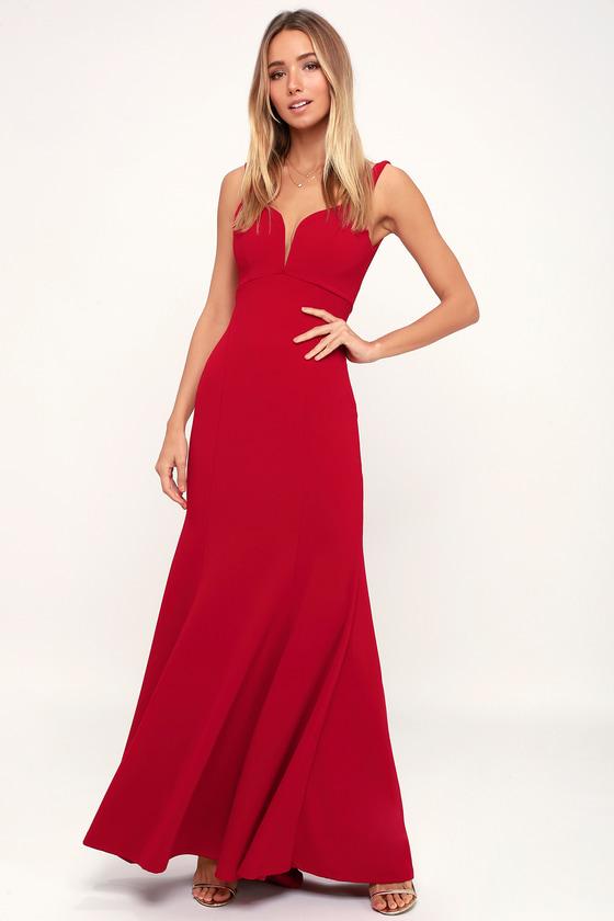 23604d89e6a Lovely Red Maxi Dress - Dark Red Maxi Dress - Red Mermaid Dress