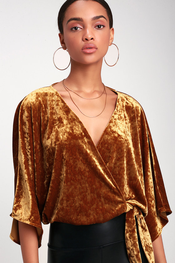 4f0fb10a4d7bc8 Sexy Golden Yellow Velvet Top - Velvet Wrap Top - Velvet Crop Top