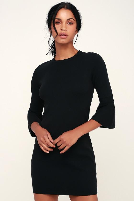 1143bb398e Cute Black Dress - Bodycon Dress - Sweater Dress - Flounce Sleeve