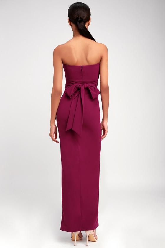 e7b77004a18 Lovely Berry Pink Dress - Strapless Dress - Maxi Dress - Gown
