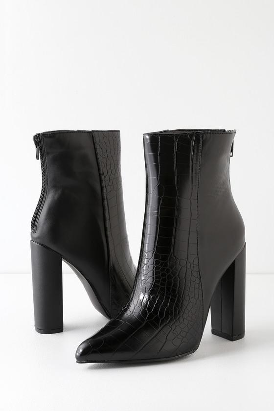 Karin Black Crocodile Embossed Two-Tone High Heel Booties