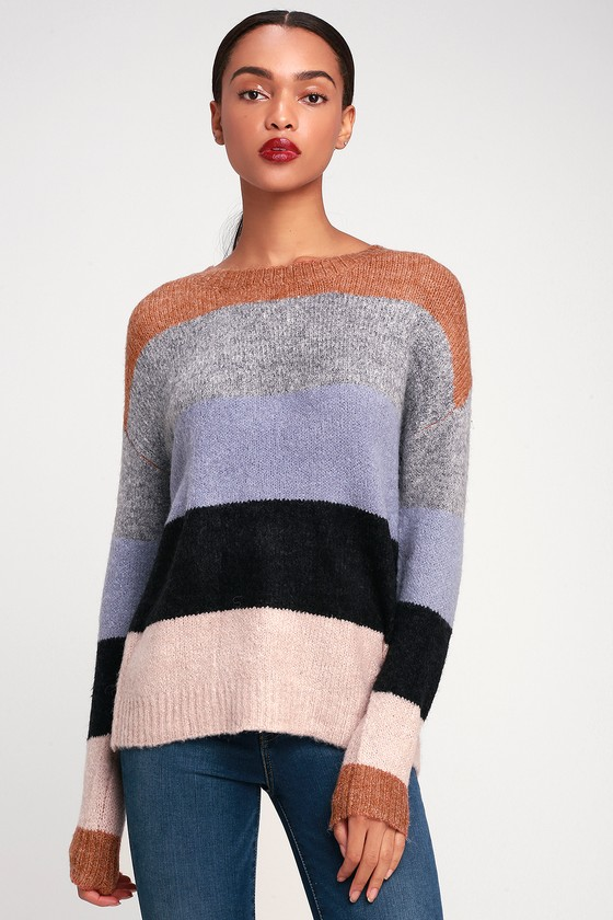 fe5575c32e Cute Multi Striped Sweater - Knit Sweater - Oversized Sweater