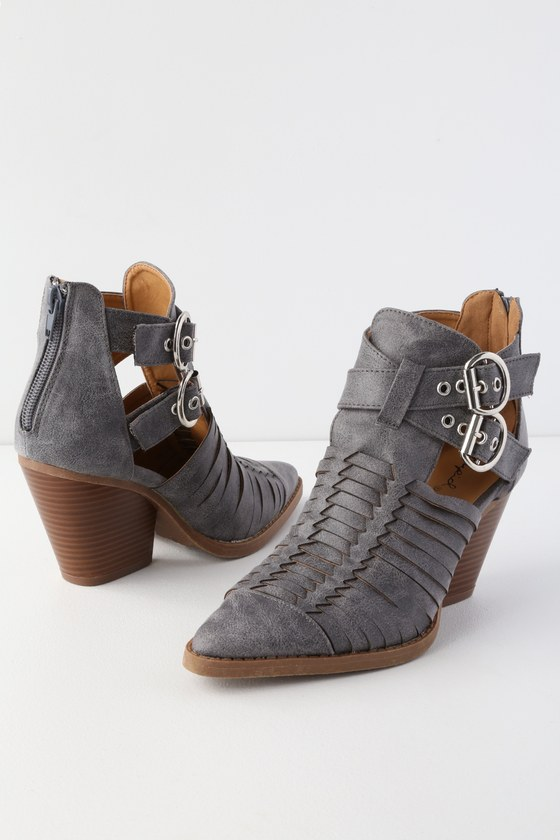 724c5dbaee Cool Grey Booties - Woven Ankle Booties - Cutout Ankle Booties
