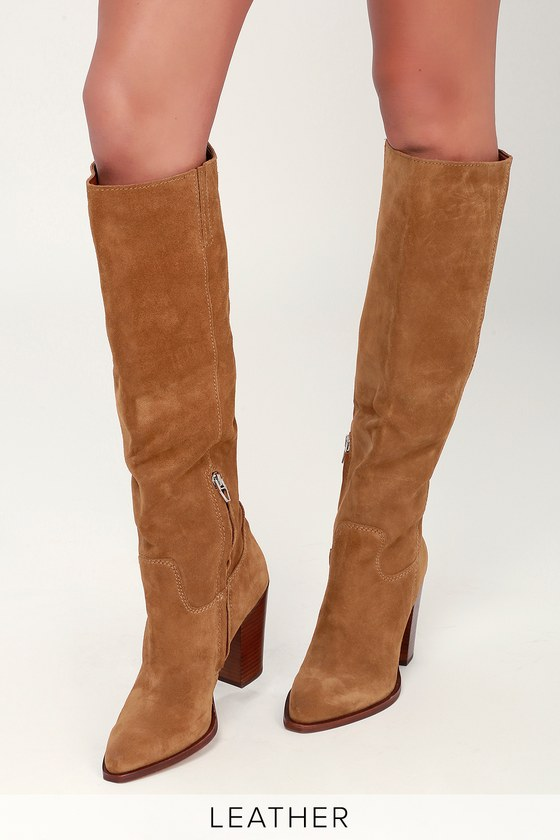a8b6098458c Kylar Brown Suede Leather Knee-High Boots