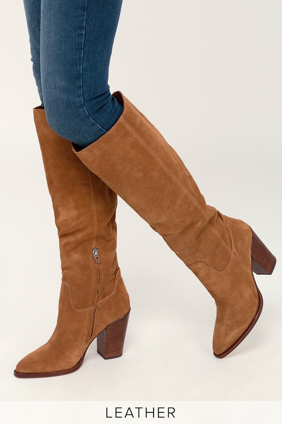 7a9cc5e3bbf Dolce Vita Kylar - Brown Suede Leather Boots - Knee-High Boots