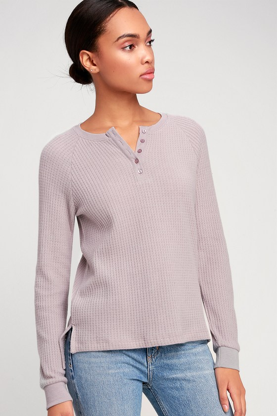 9d11581953aeff Z Supply The Waffle Thermal - Mauve Thermal Top - Henley Top