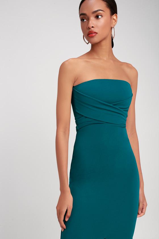 Lovely Teal Blue Dress - Strapless Dress - Maxi Dress - Gown 28cd5c575