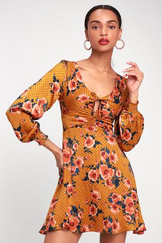 aaef5c1010 Morning Light Golden Yellow Print Long Sleeve Mini Dress