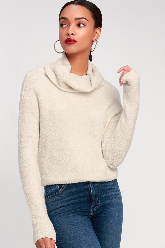 664cb10ab7c78 Free People Stormy - Cream Cowl Neck Sweater - Sweater Top