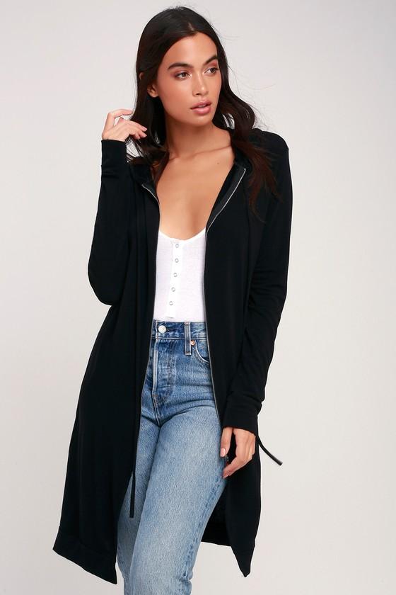 43a858debcb Cute Black Hoodie - Long Hoodie - Zip Up Hoodie - Sweater