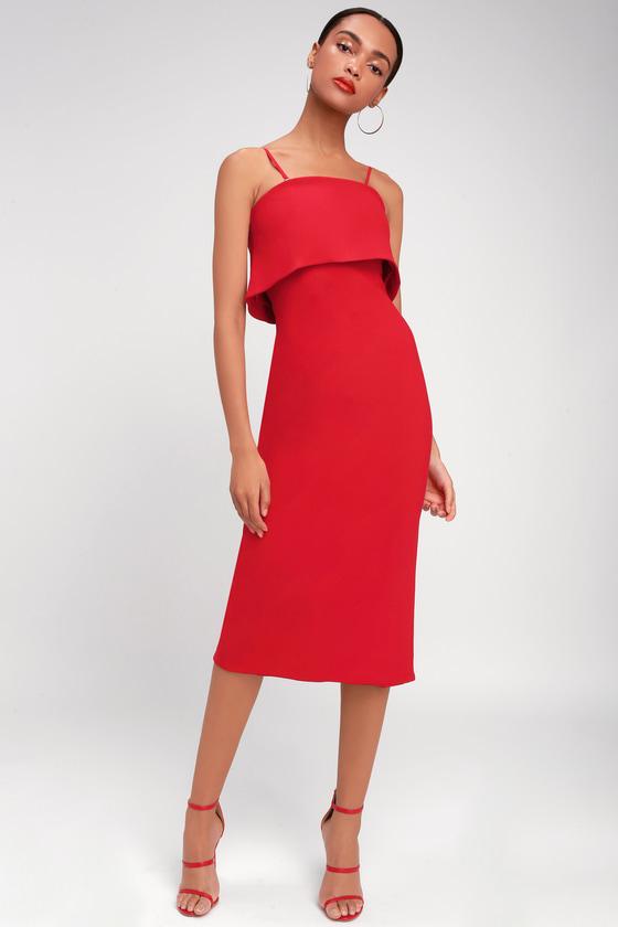 1d44ae8282ee0 Marino Red Convertible Midi Flounce Dress