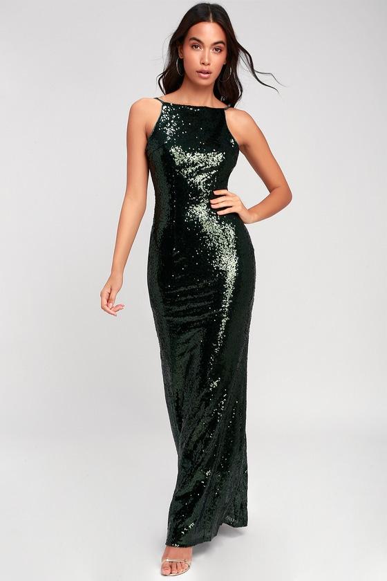 70s Prom, Formal, Evening, Party Dresses Chic Celebration Forest Green Sequin Maxi Dress - Lulus $77.00 AT vintagedancer.com