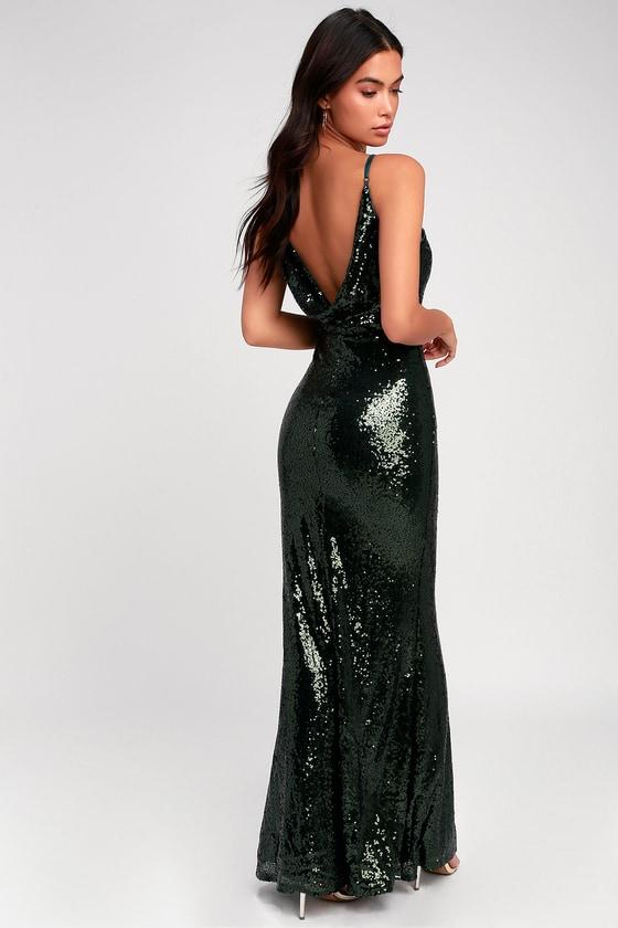 7e3a94eb Stunning Maxi Dress - Sequin Dress - Mermaid Dress- Green Dress