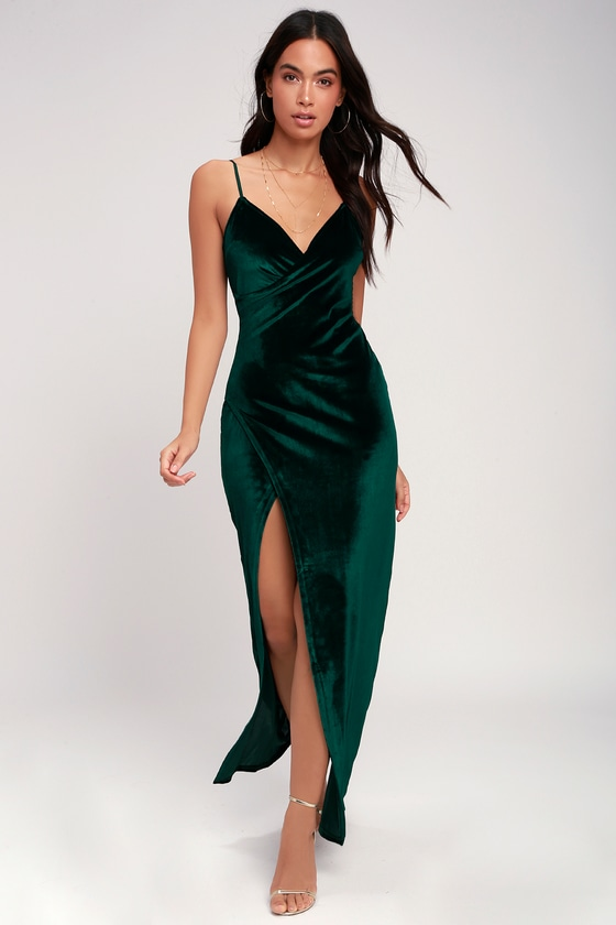 40be50bf3fd Sexy Forest Green Dress - Maxi Dress - Velvet Dress - Dress