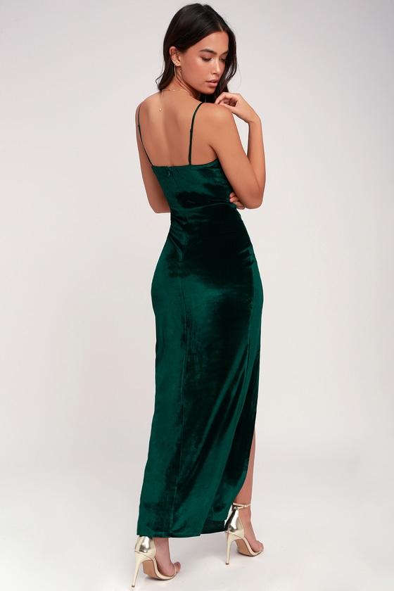 99c33afd3b7386 Sexy Forest Green Dress - Maxi Dress - Velvet Dress - Dress