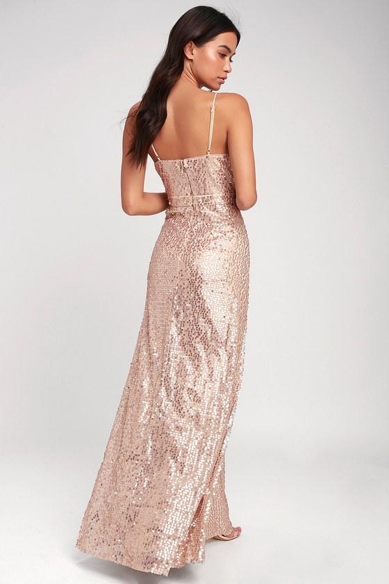 792ba9ab958 Glam Champagne Dress - Sequin Dress - Sequin Maxi Dress