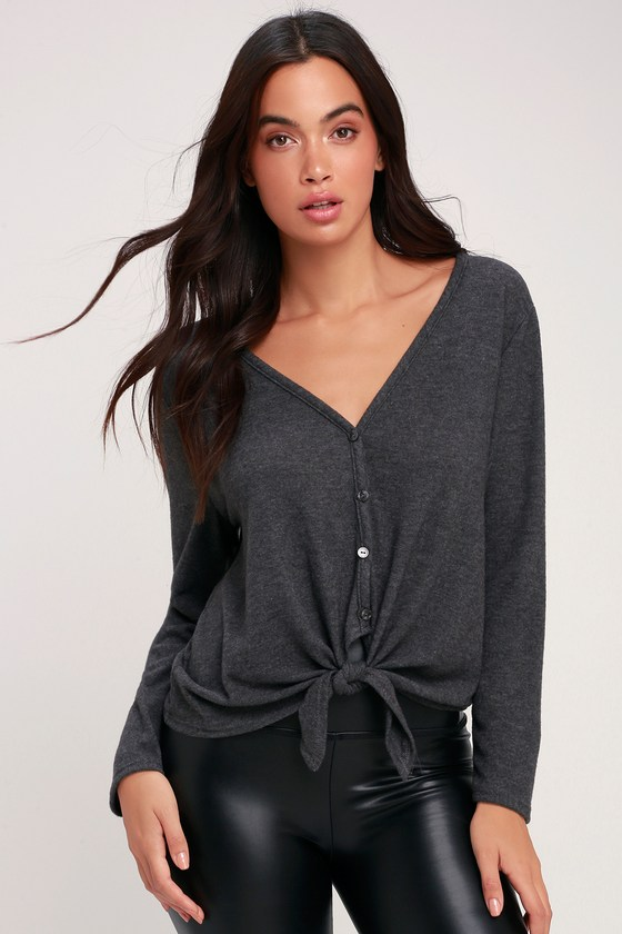 Marnier Washed Charcoal Grey Tie Front Button Up Sweater Top by Lulus