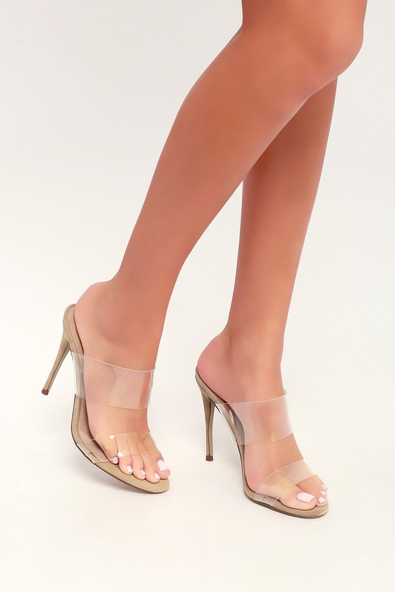 f48efc729 Steve Madden Charlee - Clear Vinyl Sandals - High Heel Sandals