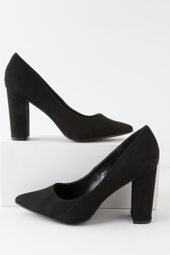 Callen Black Suede Pointed Toe Pumps