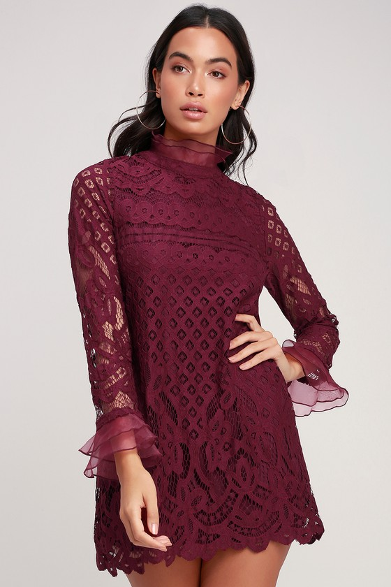 Love And Joy Burgundy Lace Long Sleeve Shift Dress