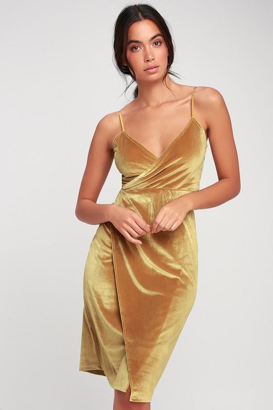 Honey Love Mustard Yellow Velvet Bodycon Wrap Dress