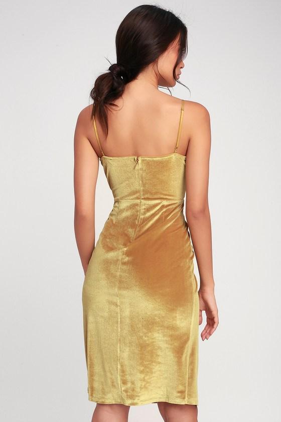 9e80436214 Chic Mustard Velvet Dress - Velvet Bodycon Wrap Dress