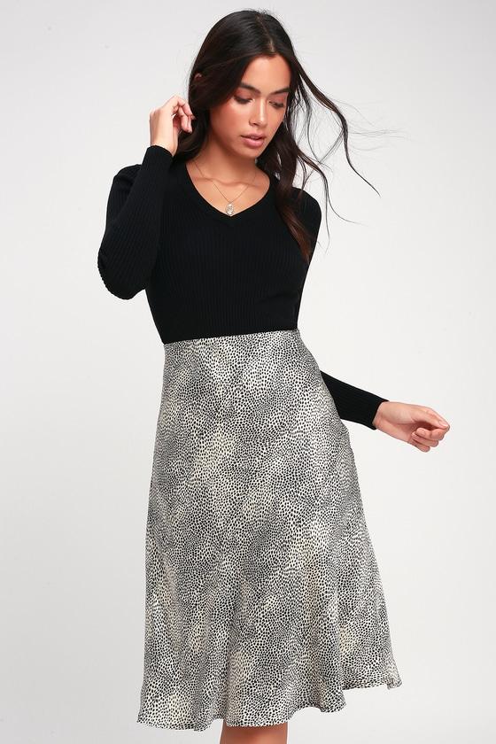 524117f7def83a Chic Grey Leopard Print Skirt - Leopard Satin Skirt - Midi Skirt