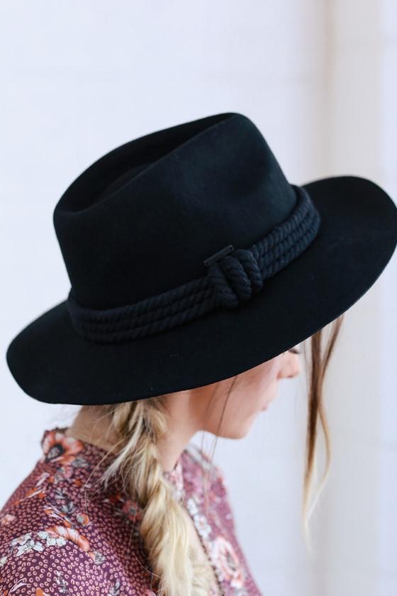 f6d2085f10dba2 Billabong Roped In - Black Hat - Felt Hat - Wide-Brim Hat
