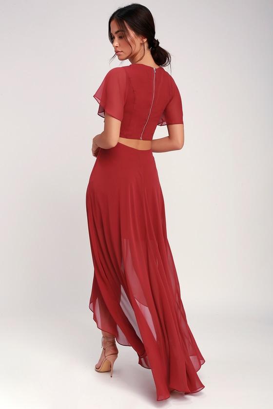 af1b4507c4 Ali & Jay Bohemian Rhapsody - Brick Red Dress - High-Low Dress