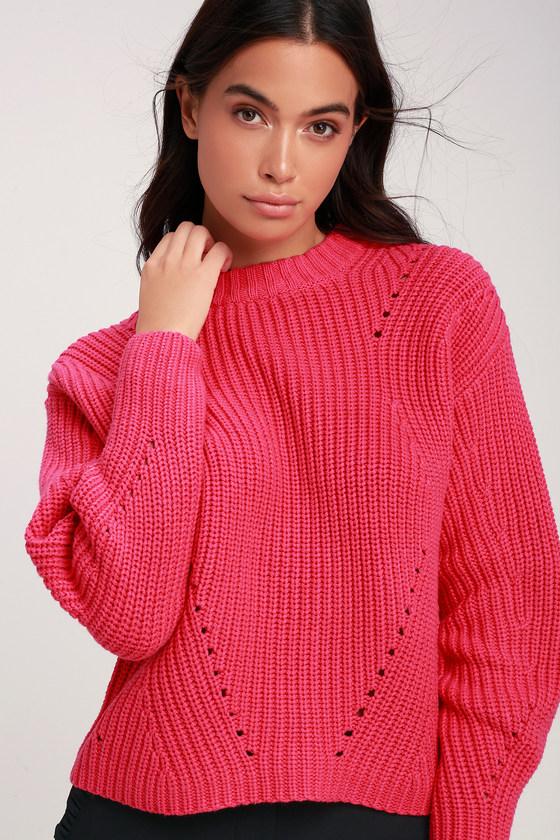 cd4fa3e62e Fuchsia Sweater - Pointelle Knit Sweater - Dolman Sleeve Sweater