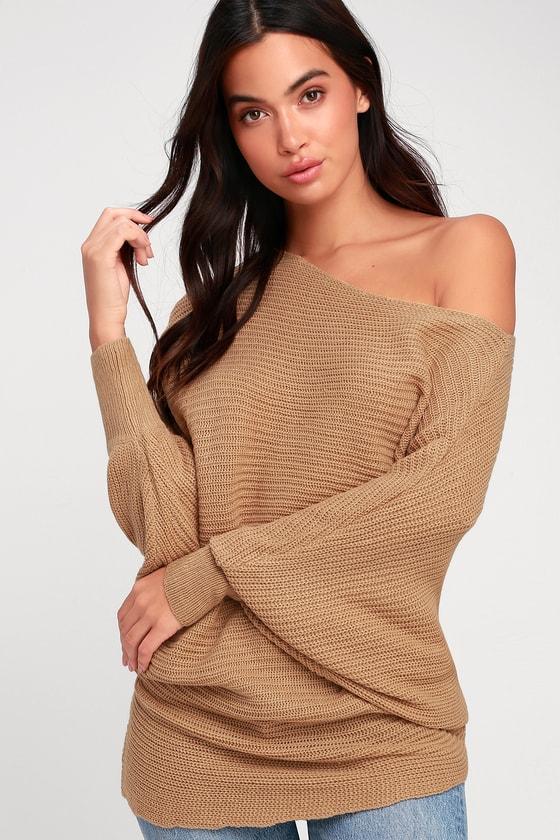 Image of Donworth Beige Asymmetrical Dolman Sleeve Knit Sweater - Lulus