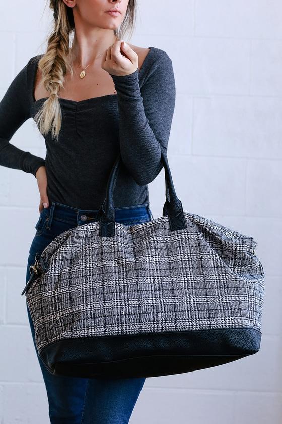 810c9663493f Cute Black and White Bag - Weekender Bag - Plaid Weekender