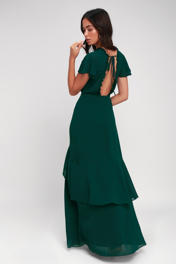 b198a2f9ef1a Pour the Champagne Emerald Green Ruffled Backless Maxi Dress