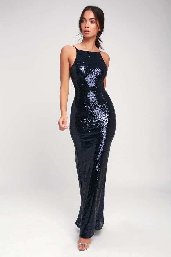 10c43517ce Stunning Maxi Dress - Sequin Dress - Mermaid Dress- Blue Dress