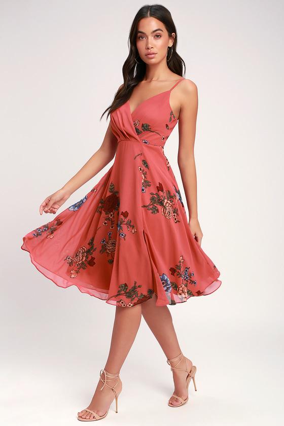 6f6381e3259f Cute Floral Dress - Rusty Rose Dress - Midi Dress - Skater Dress