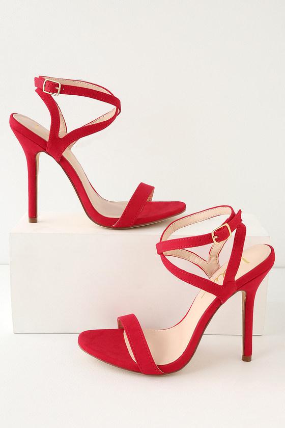 76732a1ad77 Sexy Red Heels - Red Suede Heels - Vegan Suede Heels