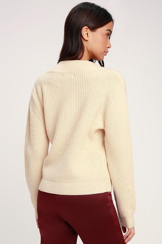 fe9f87da80 Cute Beige Sweater - Knit Sweater - V-Neck Sweater - Sweater