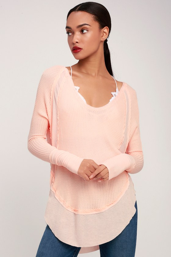 82c889ffe8 Free People Catalina - Light Peach Top - Thermal Long Sleeve Top
