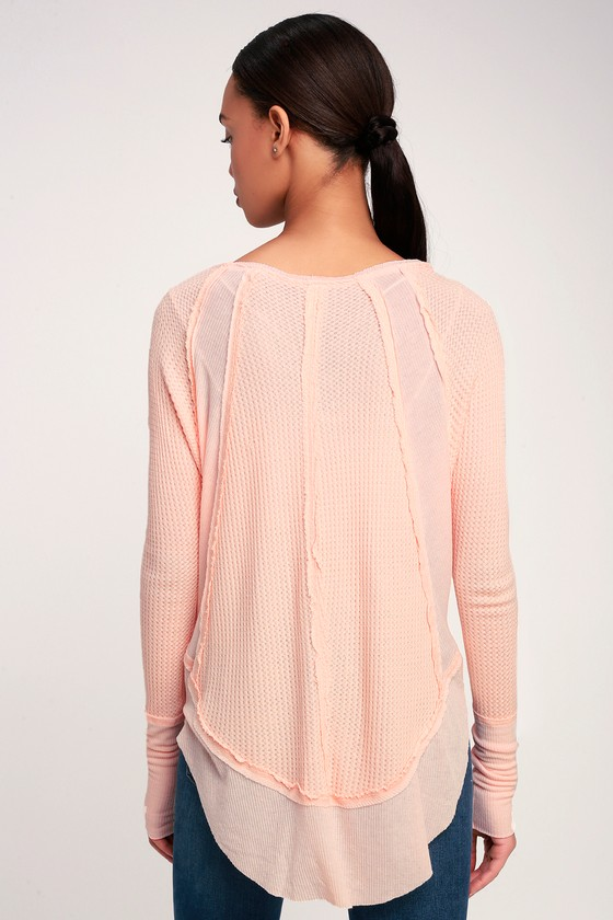 0108529289 Free People Catalina - Light Peach Top - Thermal Long Sleeve Top