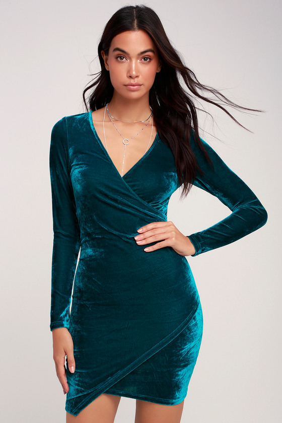 36767ebf2cd0 Sexy Velvet Dress - Teal Blue Dress - Ruched Long Sleeve Dress
