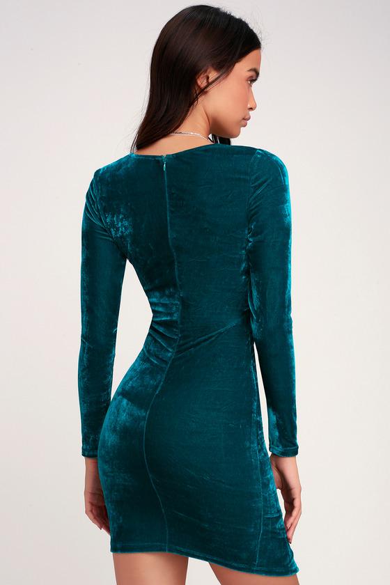 65377bbafb85 Sexy Velvet Dress - Teal Blue Dress - Ruched Long Sleeve Dress
