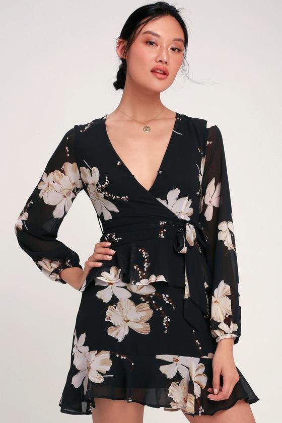 936ff04a0fe Cute Black Dress - Floral Print Dress - Long Sleeve Mini Dress
