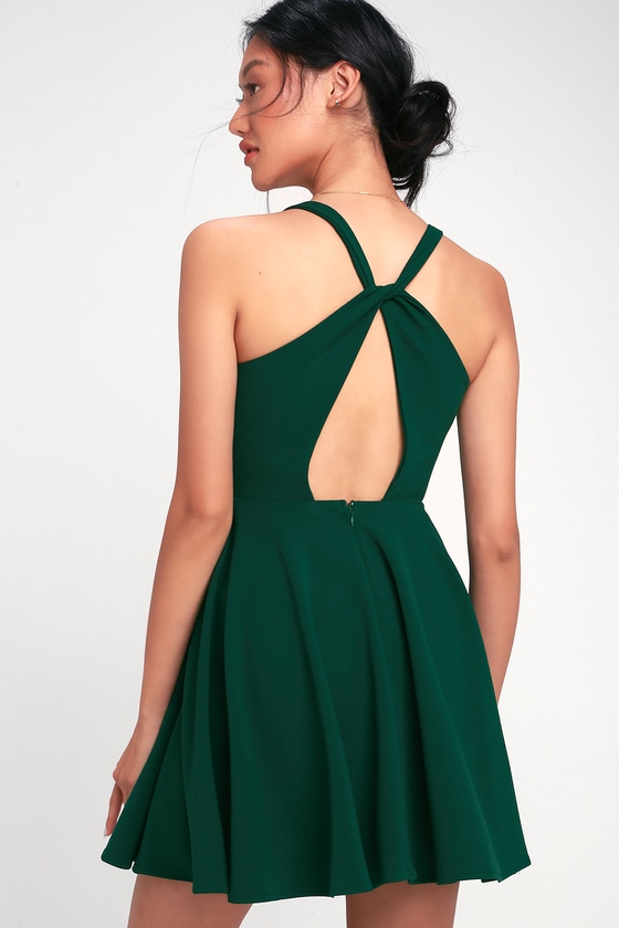 e790a5091b Cute Dark Green Dress - Twist Back Skater Dress - Skater Dress