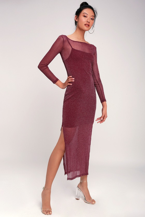ed115d9bf560 MINKPINK In the Night - Burgundy Midi Dress - Sparkle Mesh Dress