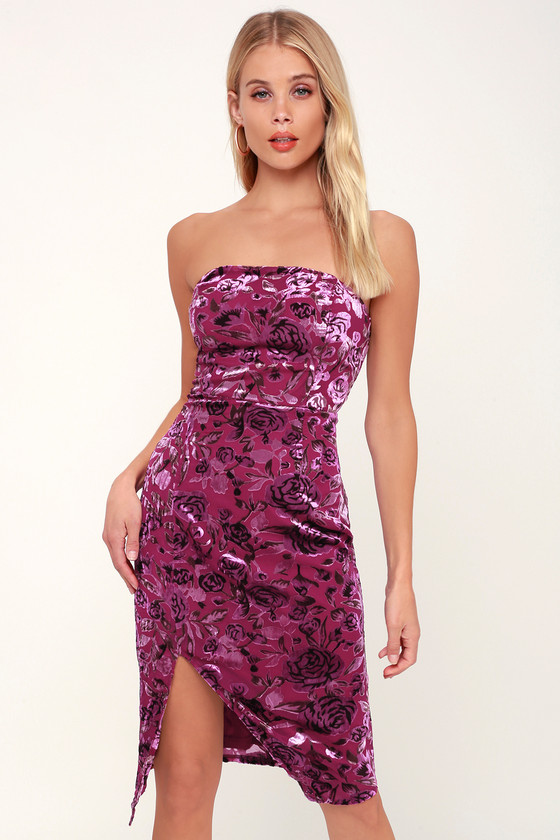 d53c908b847 Magenta Floral Print Velvet Dress - Strapless Dress - Mini Dress