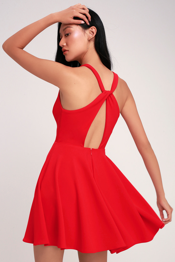 e931fdfee8d Cute Red Dress - Twist Back Skater Dress - Skater Dress
