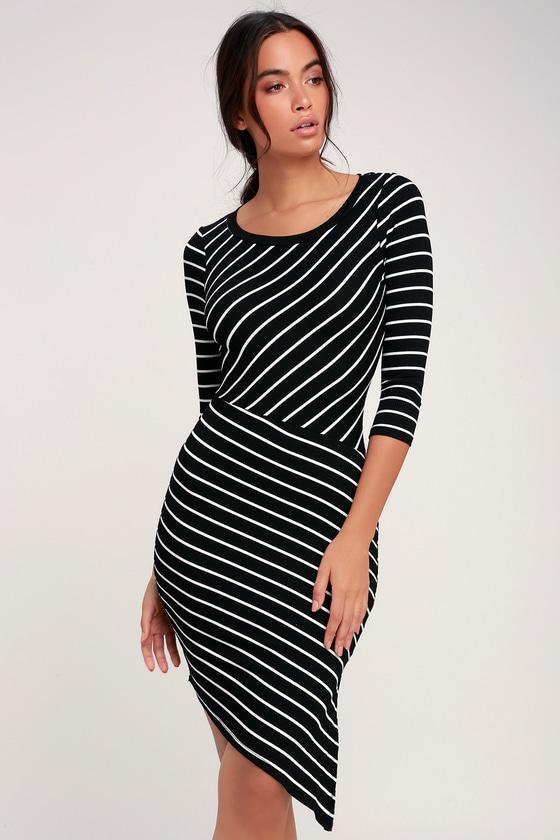 28ff7a55 Sexy Black Striped Dress - Asymmetrical Dress - Bodycon Dress